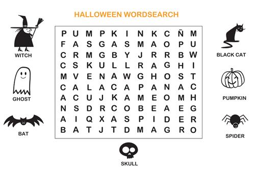 Sopa de letras de halloween en inglés