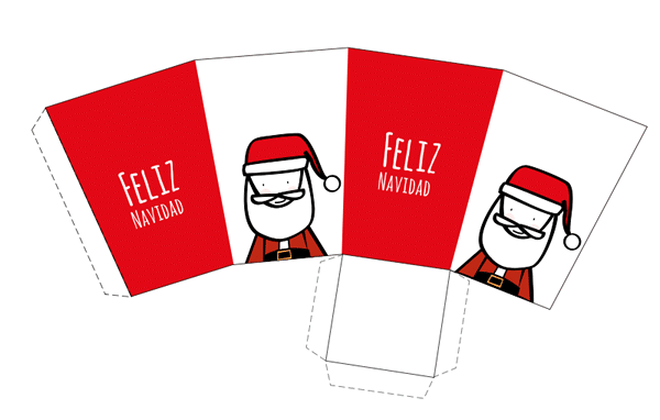 caja imprimible de navidad con dibujo de Papá Noel