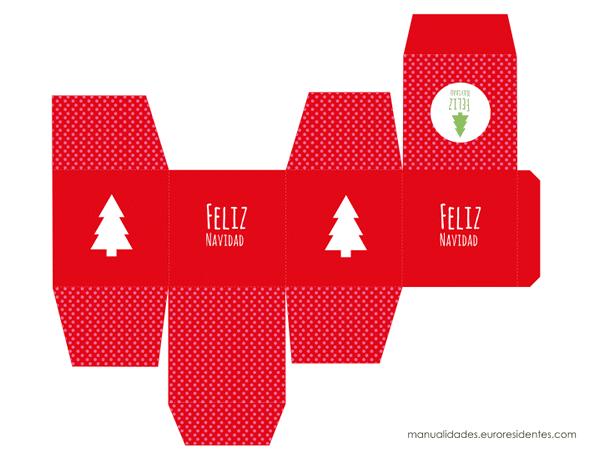 cajita de navidad en color rojo