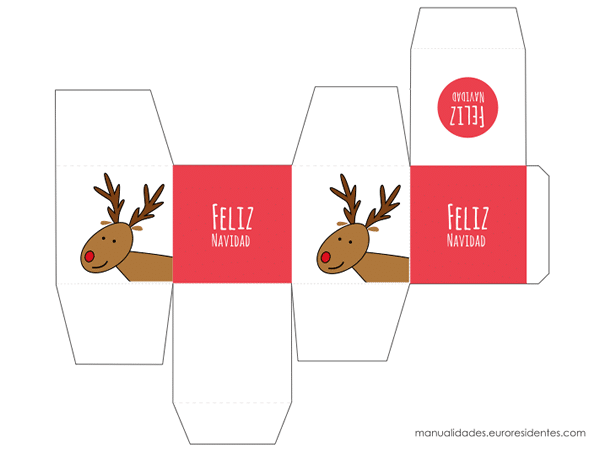 cajita de navidad en color rojo con dibujo de reno