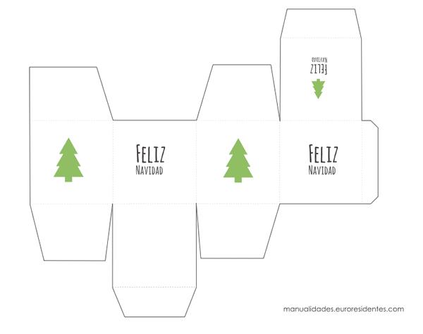 cajita para imprimir de navidad en color blanco