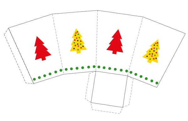 caja imprimible con dibujo de árbol de navidad