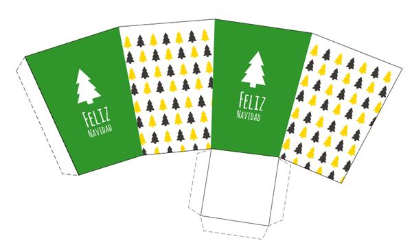 caja imprimible de navidad en color verde