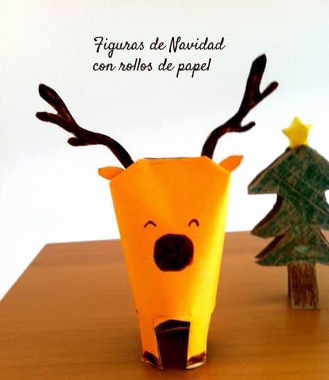 manualidades de Navidad con rollos de papel: reno