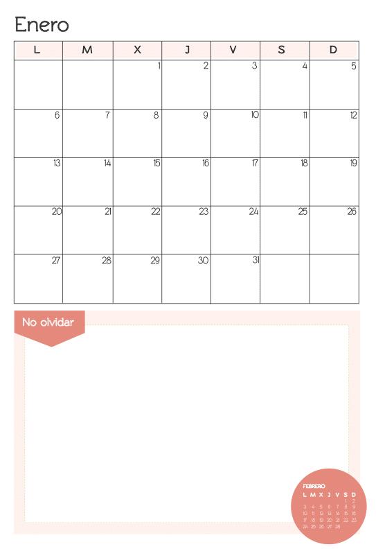mes de enero 2014 para imprimir en rojo