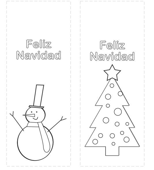 Marcapáginas de Navidad para colorear - Manualidades