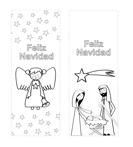 marcadores de libros para colorear con dibujo de ángel y del nacimiento