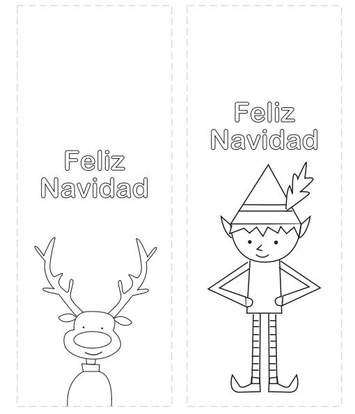 marcapáginas de navidad para colorear con reno y elfo