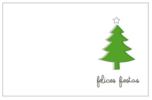 tarjetas navidad para imprimir. fondo blanco arbol verde