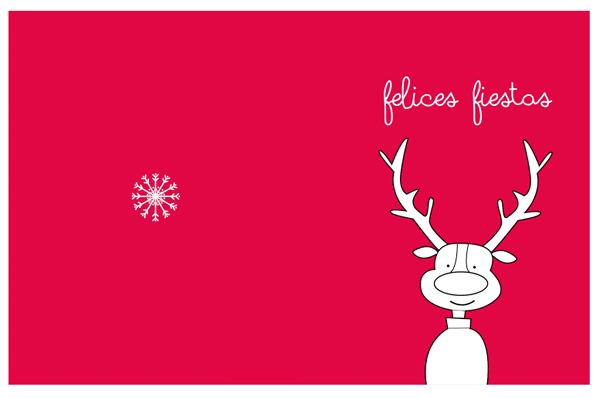 tarjetas navidad para imprimir. dibujo reno fondo rojo