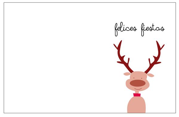 tarjetas navidad para imprimir. dibujo reno fondo blanco