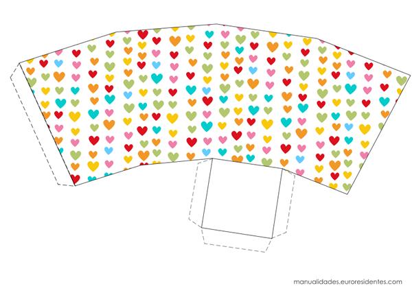 Caja imprimible Feliz San Valentín corazones colores