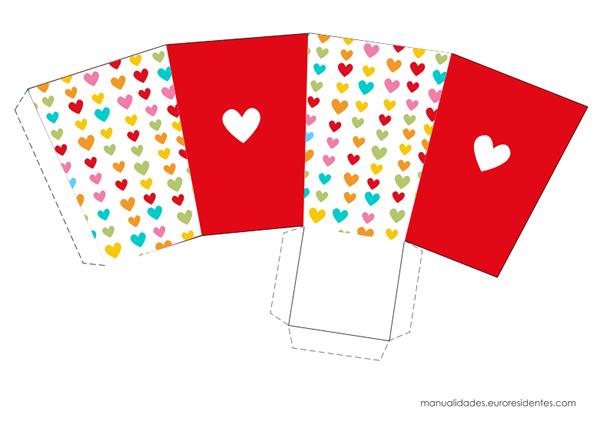 Caja imprimible San Valentín corazones