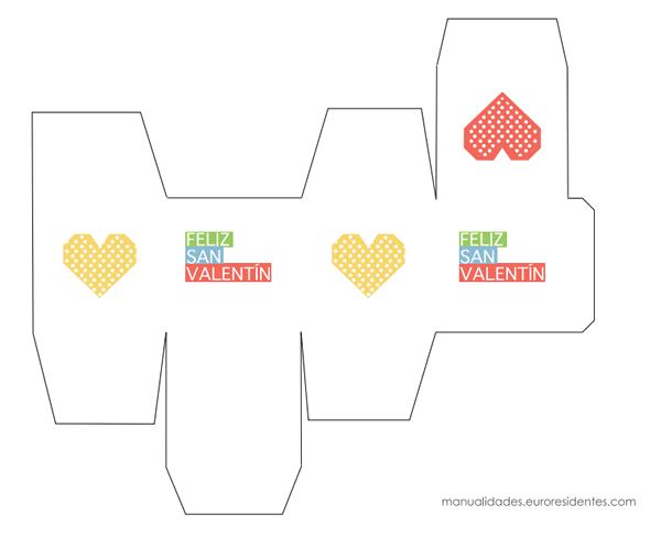 Caja imprimible San Valentín blanco