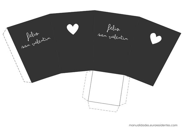 Caja imprimible San Valentín gris