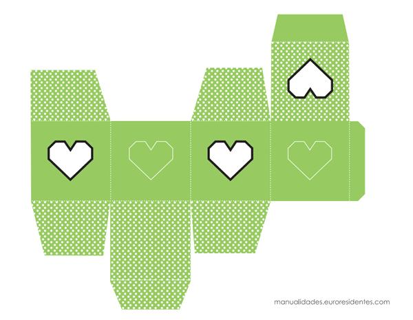 Caja imprimible  San Valentín verde lunares