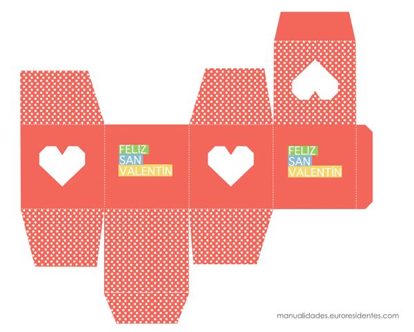 Caja imprimible Feliz San Valentín rojo