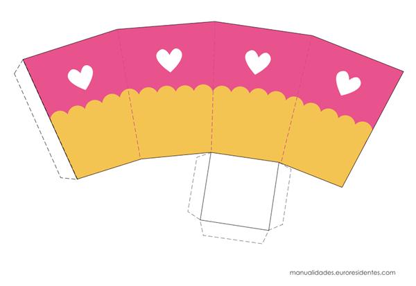 Caja imprimible rosa y amarillo