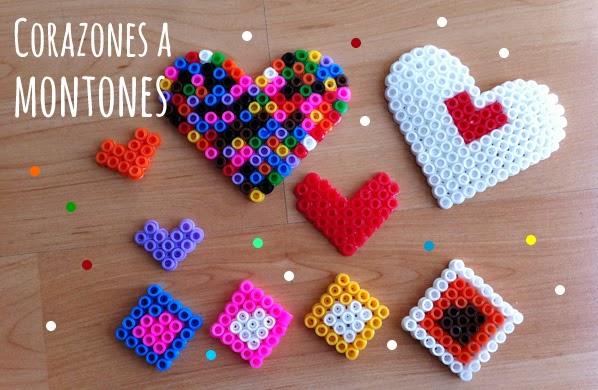 corazones con hama beads