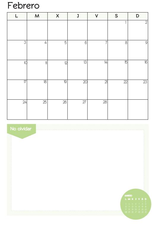 mes de febrero 2014  para imprimir
