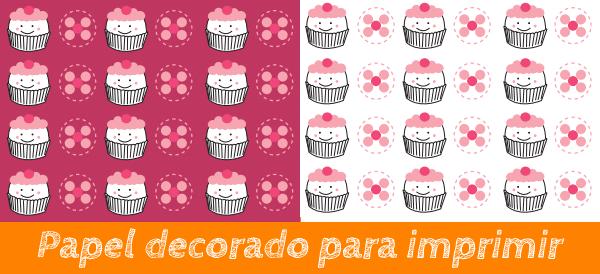 papel decorado con ilustraciones de cupcakes