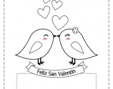 Tarjetas para colorear San Valentín
