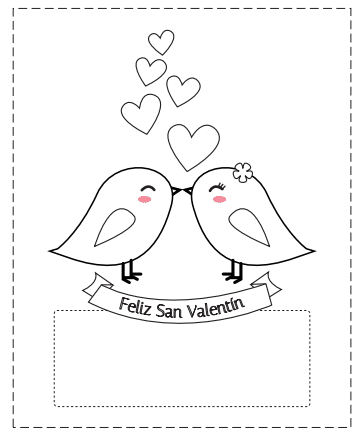 tarjetas San Valentín para colorear romántica