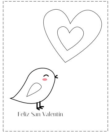 tarjetas San Valentín para colorear pollito y corazón