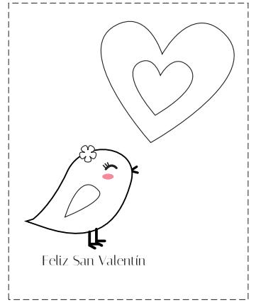 tarjetas San Valentín para con pollito y corazones