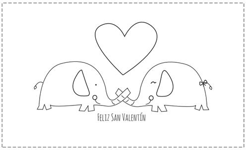 tarjetas San Valentín para colorear con pareja elefantes