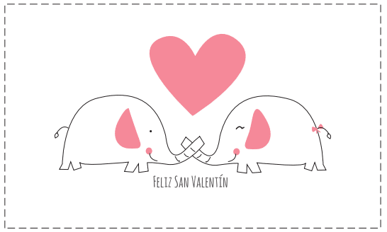 tarjeta amor pareja elefantes horizontal
