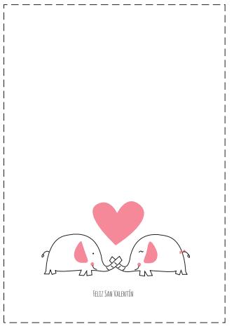 tarjeta Feliz San Valentín pareja elefantes y corazón