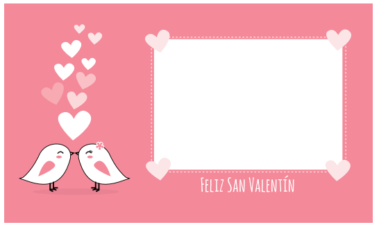 tarjeta rosa pollitos besándose San Valentín