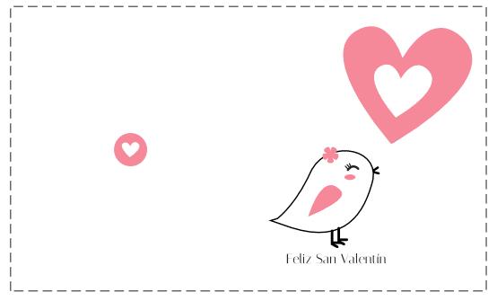 tarjeta dibujo pollito y corazón San Valentín