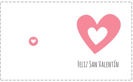 tarjeta San Valentín corazón rosa horizontal