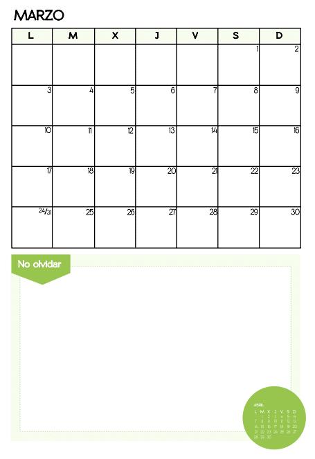 mes de marzo 2014 para imprimir color verde