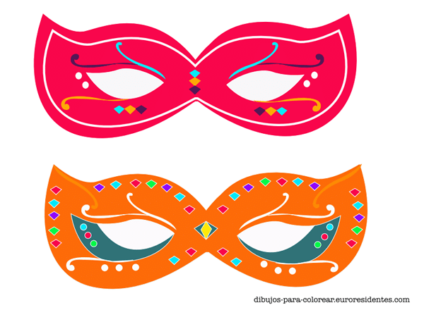 dibujos de máscaras de carnaval para imprimir