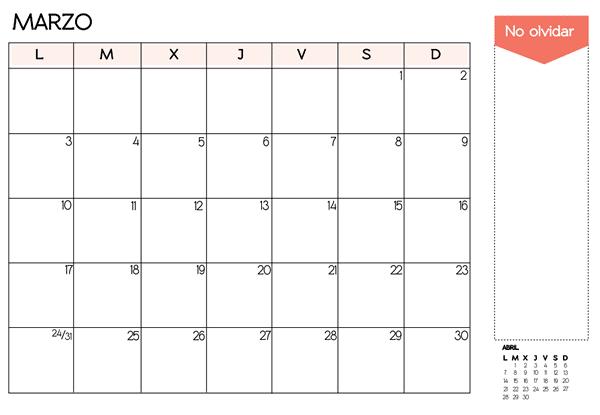 mes de marzo 2014 para imprimir