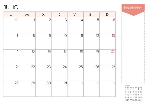 calendario julio 2014 para imprimir