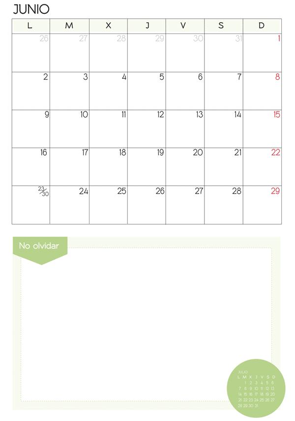 mes de junio 2014 para imprimir