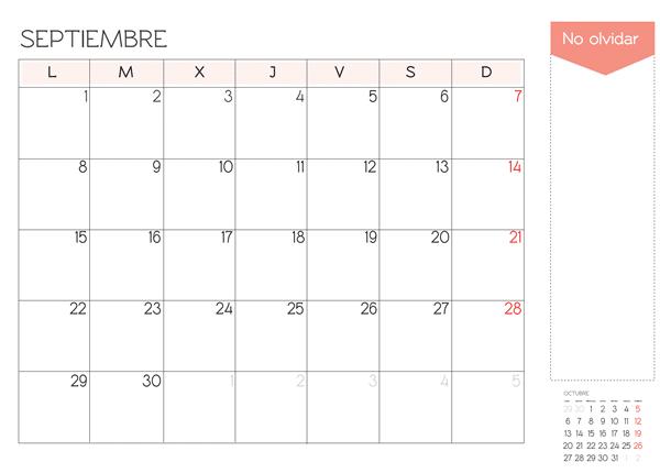 calendario septiembre 2014 para imprimir