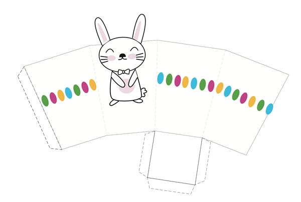 cajita imprimible de Pascua con dibujo de conejito