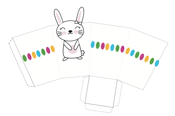 cajita imprimible de Pascua con dibujo de conejita
