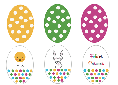 imprimibles de Pascua con forma de huevos