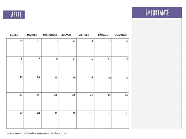 Calendario Para Escribir.Calendario Abril 2015 Calendarios Mensuales 2015 Para Imprimir