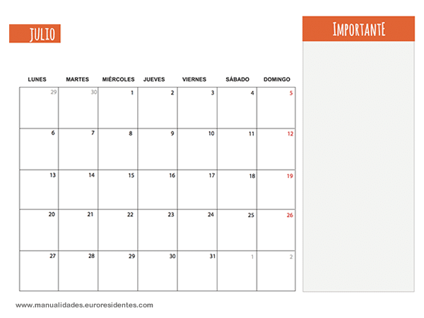 Calendario Julio 2015. Calendarios mensuales 2015 para imprimir ...