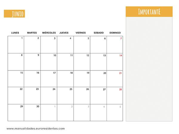 Calendario Junio 2015 Calendarios Mensuales 2015 Para