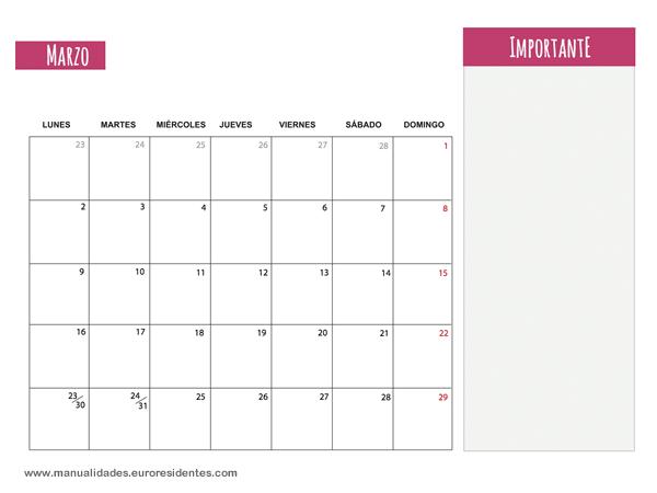 Calendario marzo 2015 calendarios mensuales 2015 para for Calendario 2015 ministerio del interior