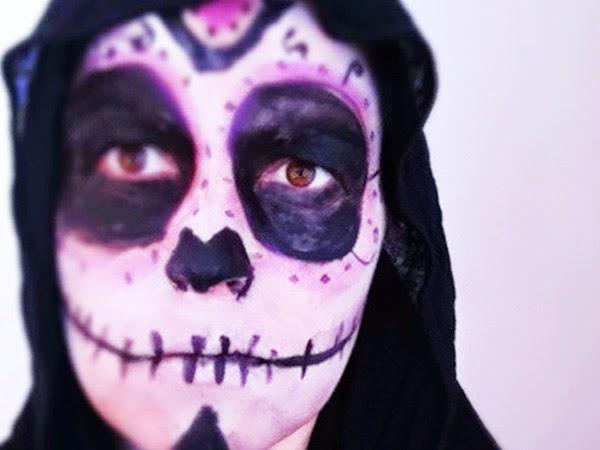 maquillaje fácil calavera halloween, día de los muertos