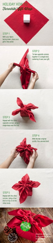 idea para envolver un regalo con una servilleta